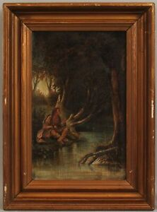 19thC Antique Signed Canvas Painting, Western Native American Indian Fishing, NR