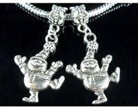 25pcs Tibetan Silver Snowman Dangle Charms Beads Fit European Bracelet ZY206
