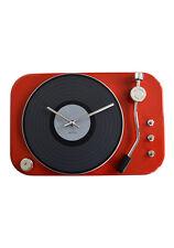 Wanduhr Schallplattenspieler - rot
