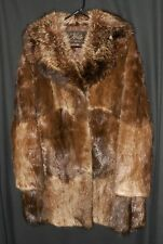 Vtg. Fur Coat Muskrat With Raccoon Collar Very Nice O'Neil's Size Medium