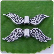 60Pcs Tibetan Silver Fancy Angel Wing Charms Spacer Beads 23x7mm 10271
