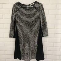 Cato Womens Knit Tunic Top Dress Size Small Black White Lagenlook