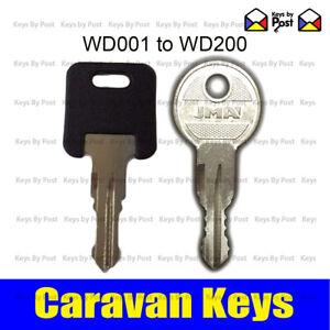 2 x Caravan Door Lock Key cut to code WD001-WD200 Locker door West Alloy TriMark