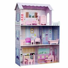Childrens Fancy Mansion Wooden Kids Dolls House with 13 pcs Furniture