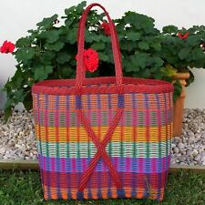 New Guatemalan Market Tote Bright Multi Colour and Red XX Large Woven Basket