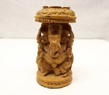 "Vtg Carved Ganesh Wood Statue Elephant 3"" Figurine Sandalwood Shrine Hindu Altar"