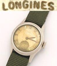 Vintage 1945 WW2 Longines 10L Mens Military Mechanical Wristwatch Sterling Case