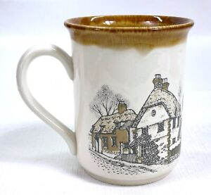 Vtg Biltons Coloroll Coffee Mug Embossed Stoneware England Village Three Bells