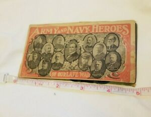 Antique Needle Book Sample Case Advertising Army & Navy Heroes & USS Olympia