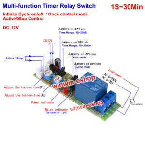 0~30min Cycle Loop Delay Timer Time DC 12V  Relay Switch Adjustable OFF Module