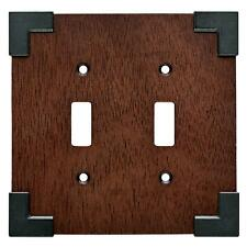 Rowland Charcoal Ebony & Soft Iron Double Toggle Switch Cover Plate W27029