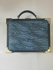 Aspinal Trunk Clutch Bag - Pegasus Blue and Yellow - Feather Print