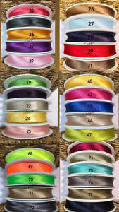 78 COLOURS BEST QUALITY 20 MM Satin Bias Binding  Fold Over Satin Tape