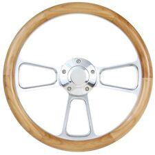 Billet & Alder Wood Hot Rod Steering Wheel for Flaming River, Ididit, GM Column