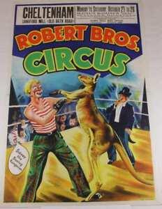 Original Robert Bros Circus Poster. Boxing Kangaroo. W E Berry Cheltenham 1960's