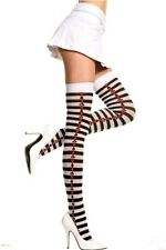 Black White Striped Thigh Highs with Side Playing Card Suits Poker Queen Hearts