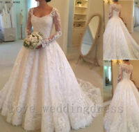 Elegant Long Sleeves Wedding Dress Vintage Lace Beach Boho Bridal Ball Gown Plus