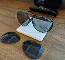 Vintage Porsche Carerra Aviator Sunglasses w/ Orig Case & Extra Lenses