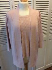 Isabella's Closet womens cardigan and shell pink baby cables Size L