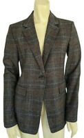 Nordstrom Signature 6 Elbow Patch Plaid Jacket Gray Brown One Button Blazer