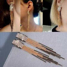 Fashion Women Gold Long Tassel Crystal Earrings Drop Dangle Stud Jewelry Gifts