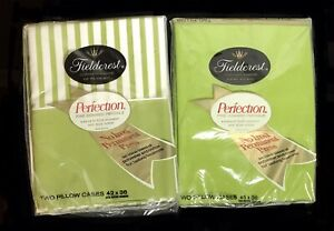 Fieldcrest Perfection Pillow Cases Green & Green with White Stripes 2 sets