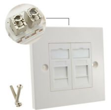 SHIELDED RJ45 FACE PLATE CAT6A TOOL-LESS DOUBLE PORT WITH KEYSTONE JACKS WHITE