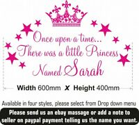 Once upon a time Princess wall Stickers Quote Girls Kids Vinyl Personalised Name