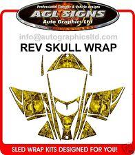 SKULL SLED WRAP  for SKI-DOO REV 03-07  mxz decal graphic yellow
