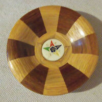 VINTAGE HAND MADE SOLID WOOD SEGMENTED BOWL ORDER OF EASTERN STAR SYMBOL CENTER