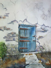 """""""Blue Door"""", Farm house style, autumn, country, original, matted"""