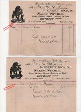 Worcester, MA 1902 Illustrated Billheads 2 HORSES 1 Bay & 1 Gray CROCKETT BROS