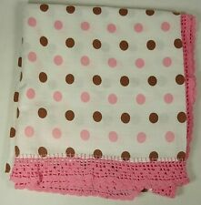 "Vintage Cotton Tablecloth Pink Brown Polka Dots 35"" X 37"" Crochet Edge"