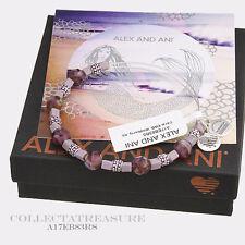 Authentic Alex and Ani Coral, Wildberry Rafaelian Silver Charm Bangle