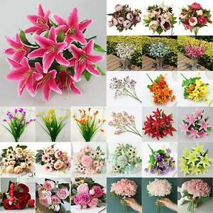 Artificial Silk Lilies Peony Bunch Fake Flower Bouquet Wedding Party Room Decors