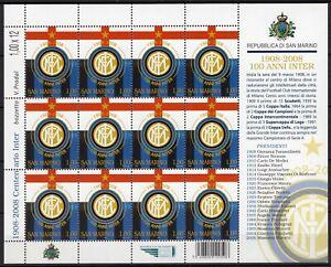 San Marino - Foglietto Fondazione squadra di calcio Inter, 2008 - Nuovo (** MNH)