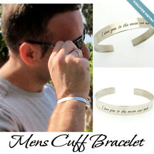 Sterling Silver Mens Bracelet / Personalized Cuff for Men Trendy Mens Gift Ideas