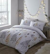 SINGLE BED DUVET COVER SET CHRISTMAS TREES GOLD BEDDING WHITE GREY STARS TREES