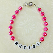 RESIST Bracelet Hot Pink Glass Pearls, Letter Beads Silver Plated Magnetic Clasp