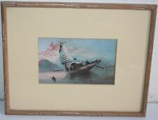 SuperB Old Seascape Hand Painted Oil Painting Sail Boat at Sunset