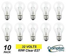 10 Pack x 32 Volt 60W Clear GLS Light Globes / Bulbs Edison Screw E27