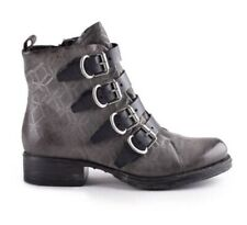 Miz Mooz Noelle Boots, Leather, zipper and buckles, biker style, Gray, Br New 40
