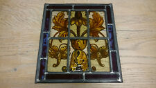 A BEAUTIFUL SQUARE ANTIQUE HAND PAINTED STAINED GLASS PANEL NEW LEADWORK ref 814