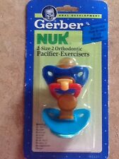 Vtg NOS 1992 Gerber NUK Pacifier-Exerciser New In Package 6-18mon blue/turquois