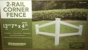 Yardworks 2-rail accent corner fence  white vinyl outdoor yard landscaping