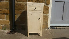 H65 W25 D25cm BESPOKE LISBON UNTREATED CHUNKY BEDSIDE TABLE HALL CUPBOARD DRAWER