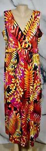 ELEMENTZ Black Multicolor Tropical Leaf Print Sleeveless Maxi Dress Large