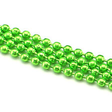 Ball Chain Roll - 30 Feet - Neon Green Color - 2.4mm Ball #3 - Bulk Strand