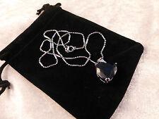 Cristales Austriacos 18k Oro Blanco Plateado Grande Azul corazón Collar De Cristal