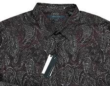 Men's PERRY ELLIS Red Gray + Modern Paisley Shirt XXL 2XL NWT NEW Stretch WOW!